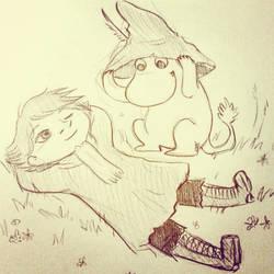 Snufkin and Moomin sketch by Melmolly
