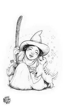 Inktober 2019: A Witch and A Pet Dog