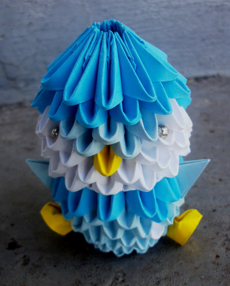#393 Piplup - 3D Origami by SophieEkard