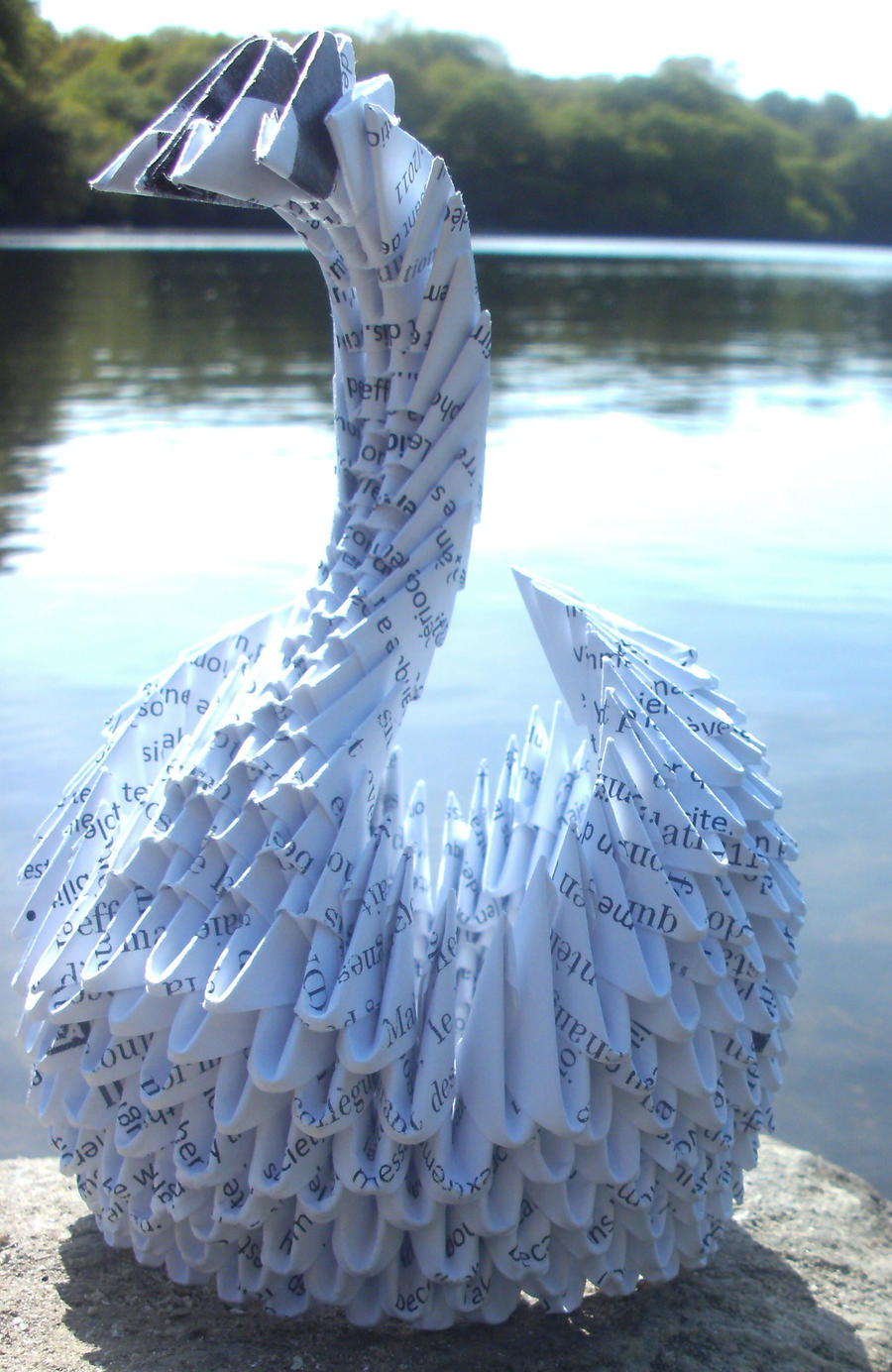 Recycled Swan on a Lake - 3D origami by SophieEkard