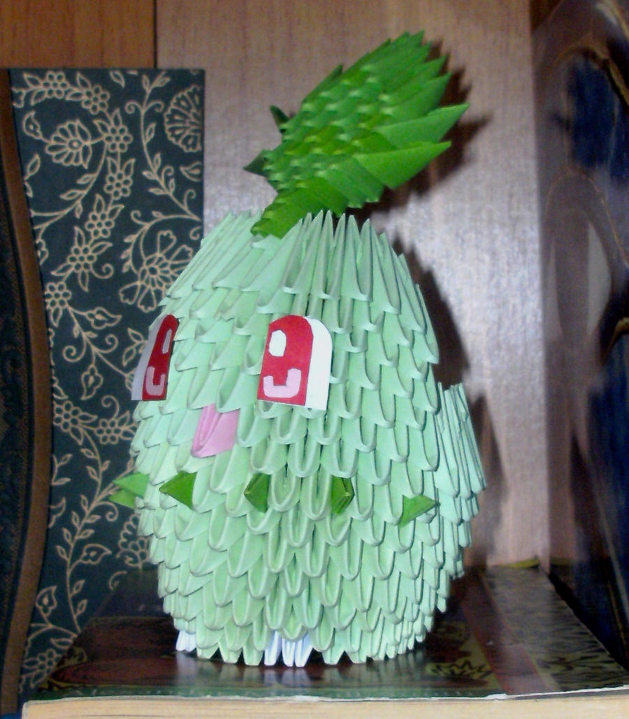 #152 Chikorita - 3D Origami by SophieEkard