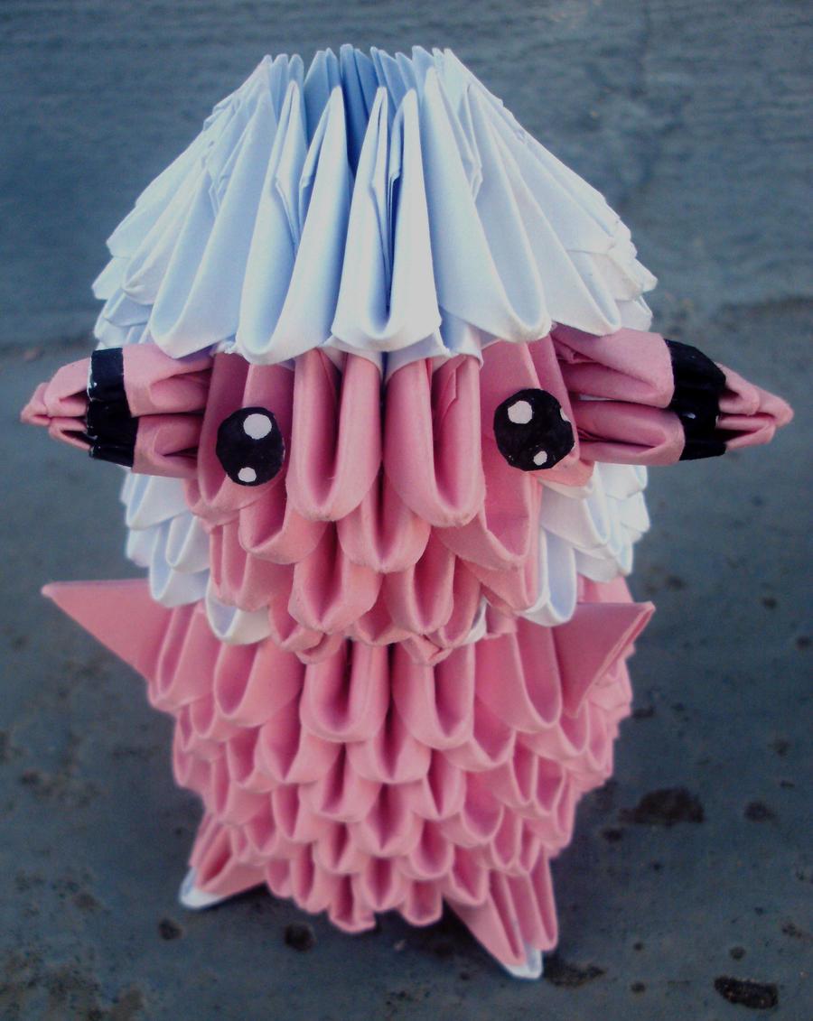 #180 Flaaffy - 3D origami by SophieEkard