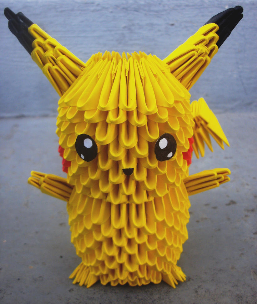 #25 Pikachu - 3D origami by SophieEkard