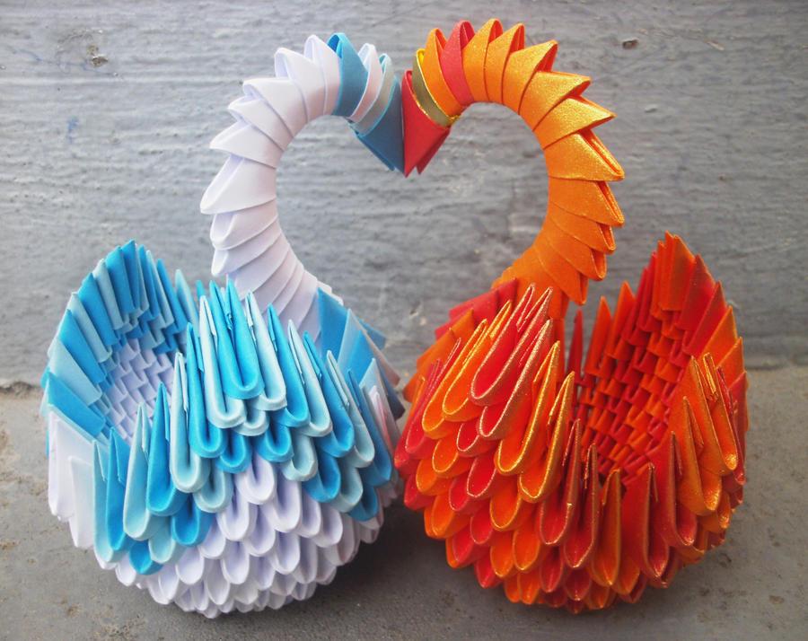 Swan Love - 3D origami by SophieEkard
