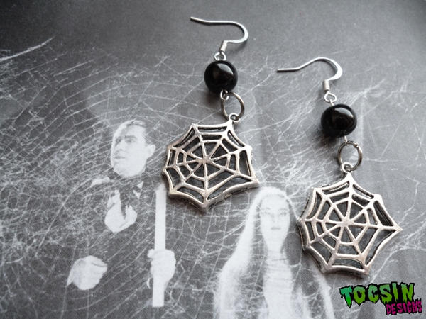 SPIDERWEB COBWEB EARRINGS by TocsinDesigns