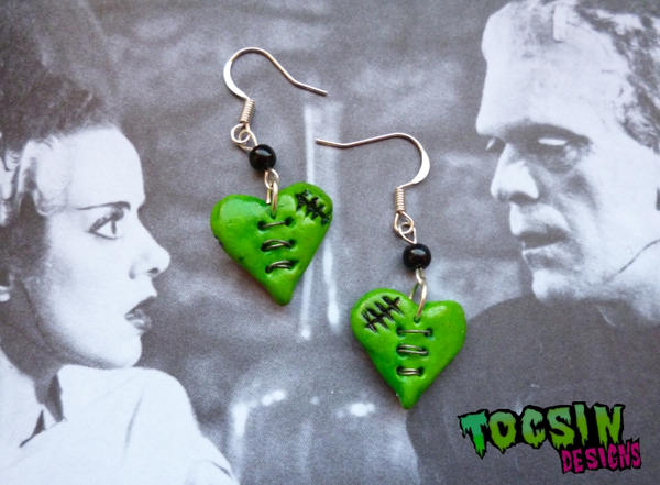 THE MONSTER's HEART- FRANKENSTEIN/ZOMBIE EARRINGS by TocsinDesigns