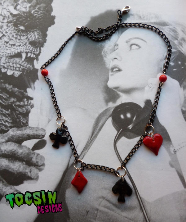 PIN UP ROCKABILLY  CARD SUITS NECKLACE by TocsinDesigns