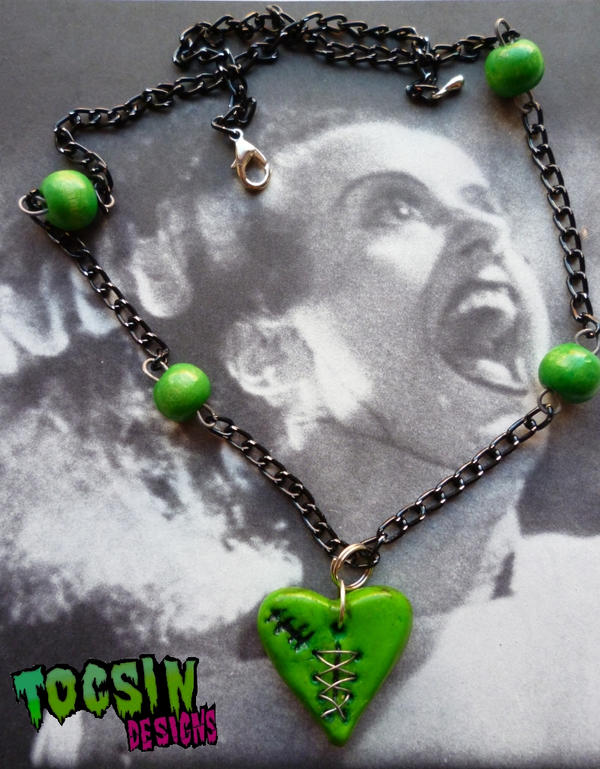 THE MONSTER's HEART- FRANKENSTEIN/ ZOMBIE NECKLACE by TocsinDesigns