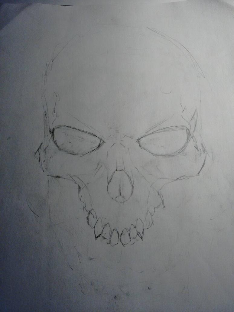 skull line art by hatchet4yourneck