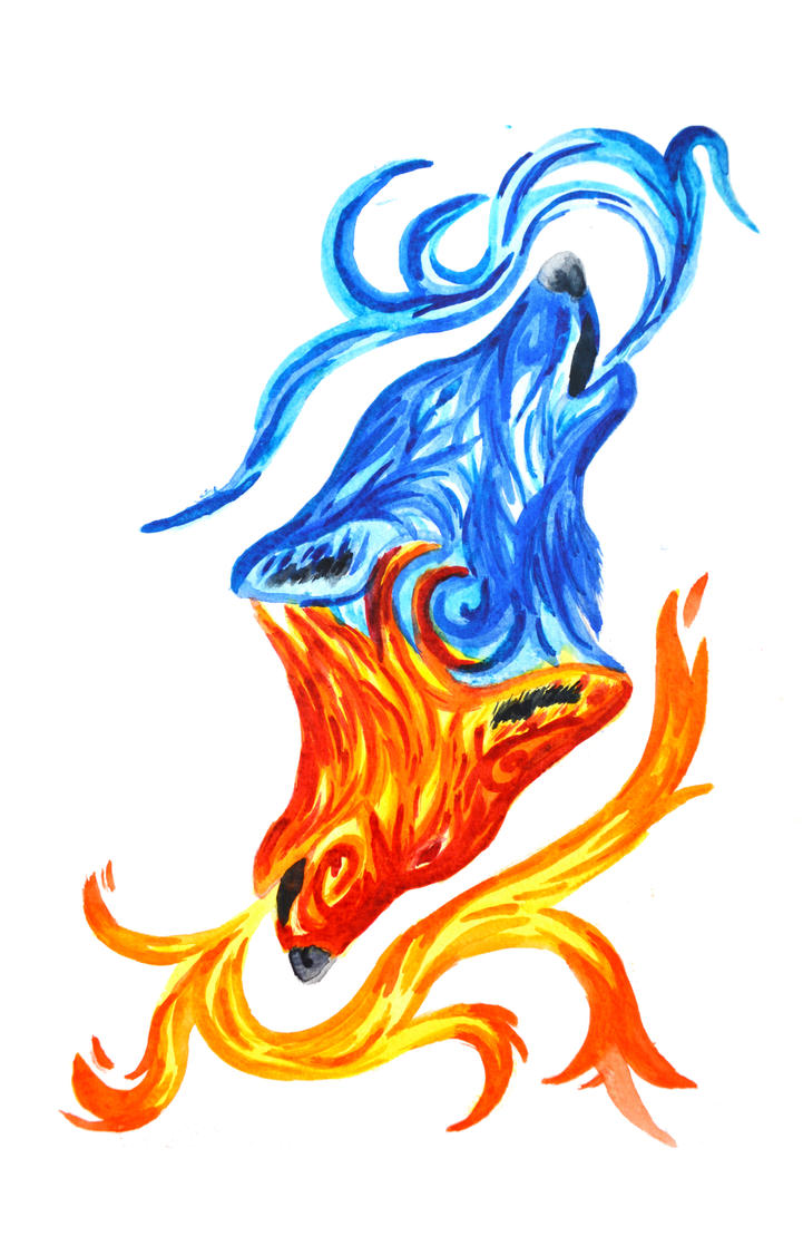Fire and Water Wolves by RoisinArt