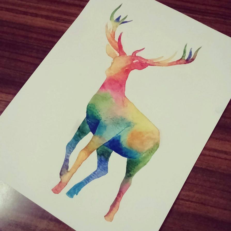 Rainbow Deer by RoisinArt