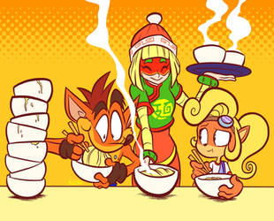 Crash and Coco eating with Min Min