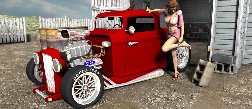 Hotrod garage girl by builder1956 on DeviantArt