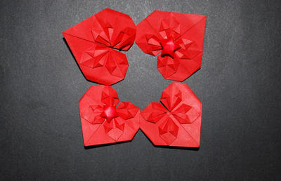 Origami Red Blossom Hearts by pprcrft5