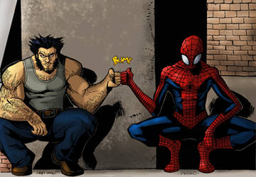 WOLVERINE AND SPIDERMAN:EPIC BRO FIST by Sabrerine911