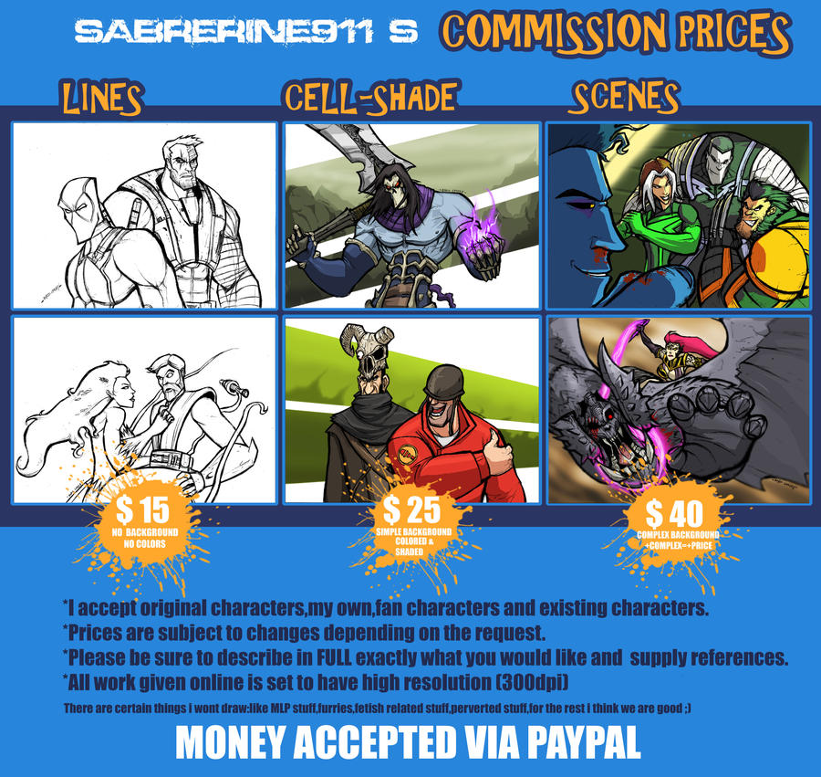 COMMISSION PRICES UPDATE by Sabrerine911
