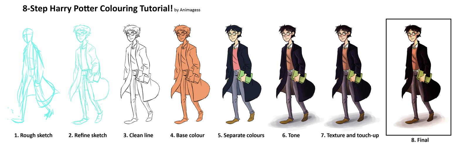 Harry Potter Coloring Tutorial by animagess on DeviantArt