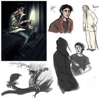 American Gods: Shadow Sketches by animagess