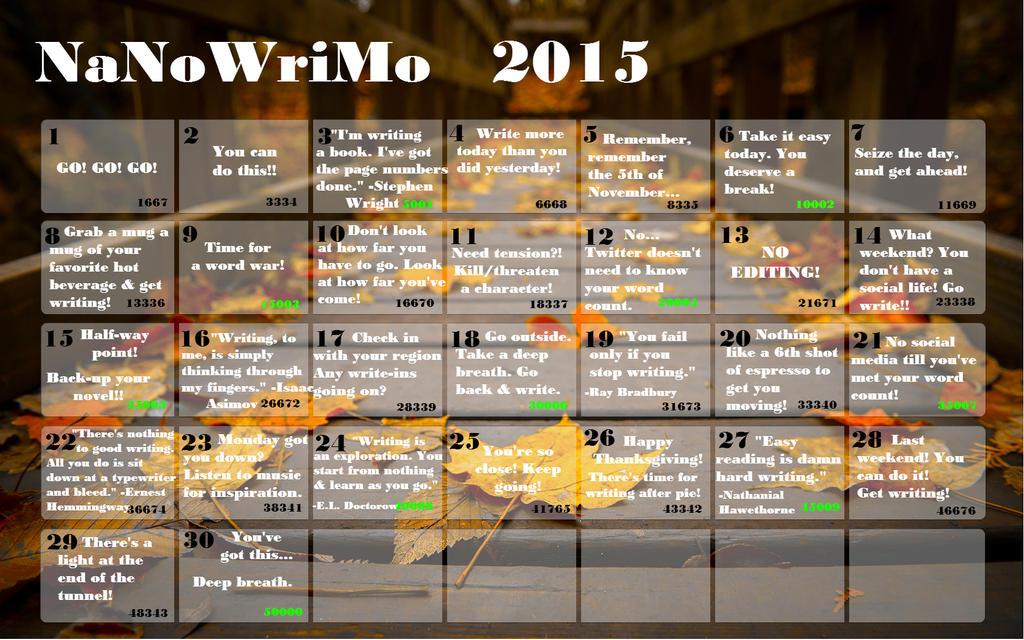 Nanowrimo 2015 Calendar 2 by Polgara87