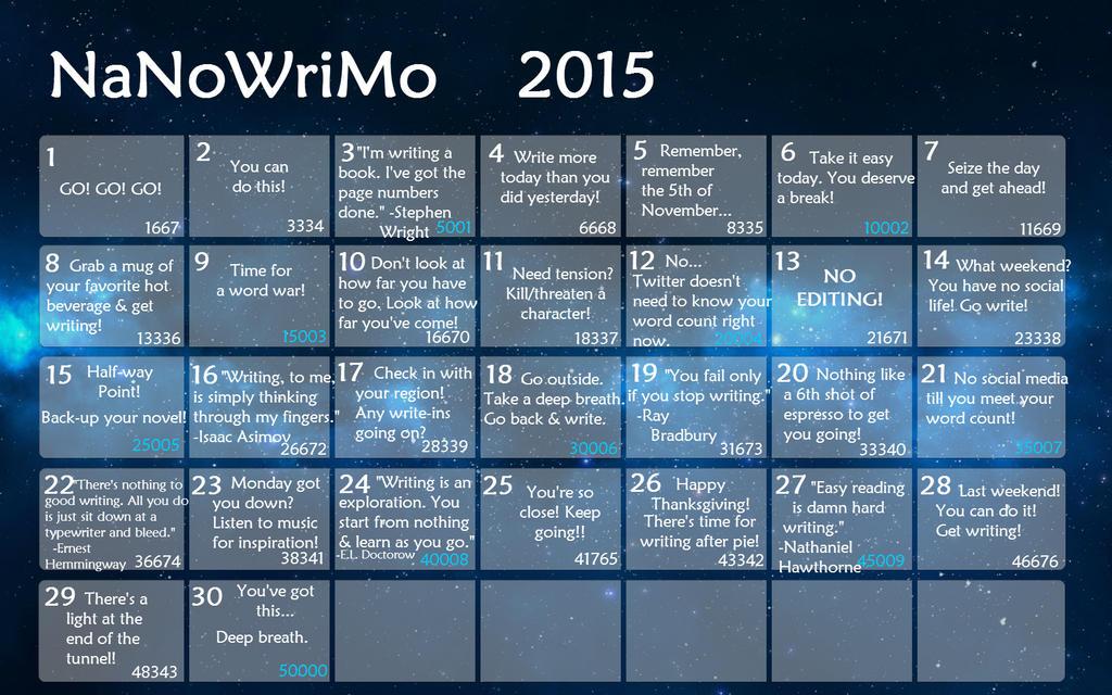 Nanowrimo 2015 Calendar 3 by Polgara87