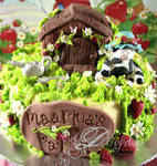 cow and strawberry cake
