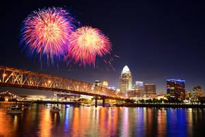 Cincinnati Skyline Fireworks by KrisVlad