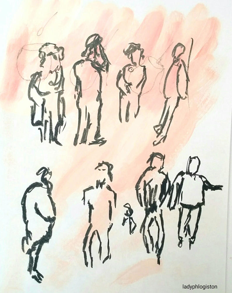 gesture drawings of people in line by ladyphlogiston