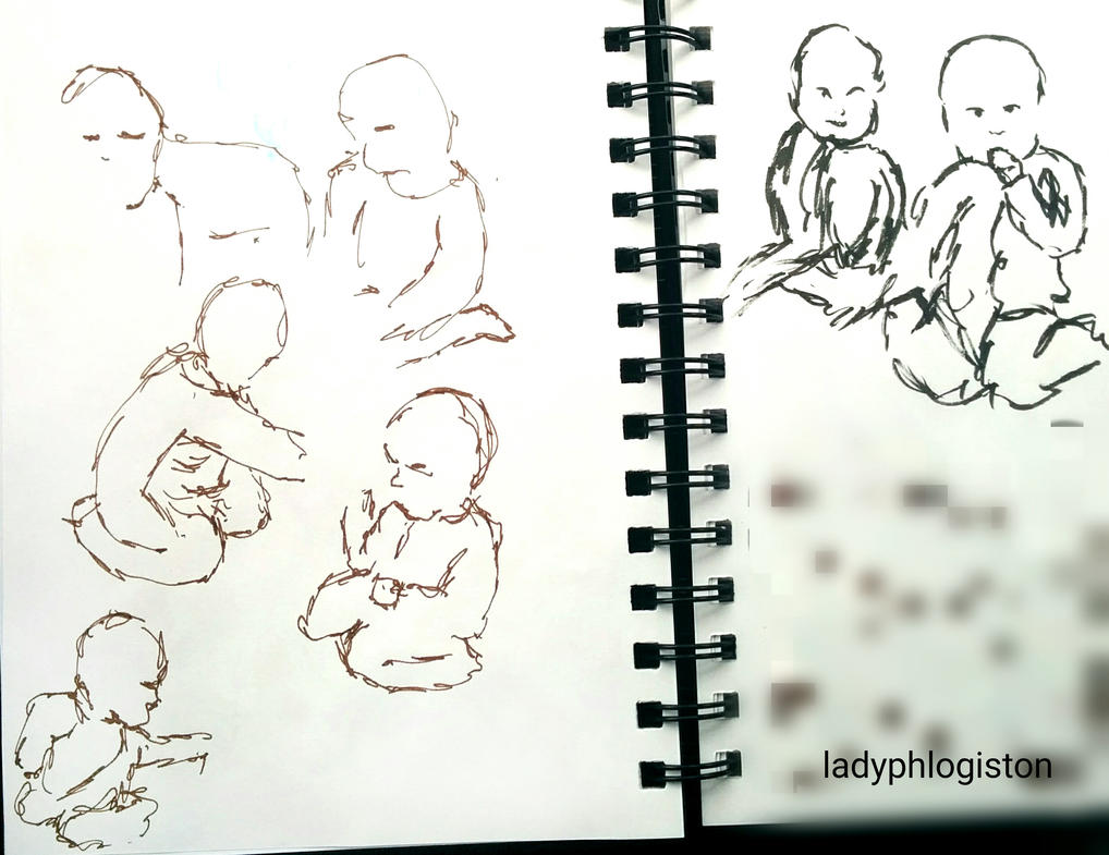 gesture drawings babies (22 March 2017) by ladyphlogiston