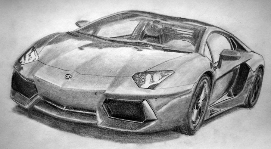 lamborghini aventador drawings in pencil - Lamborghini Black And White Drawing