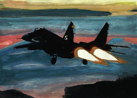 Mig 29 takeoff (watercolour painting) by M-J-M-A
