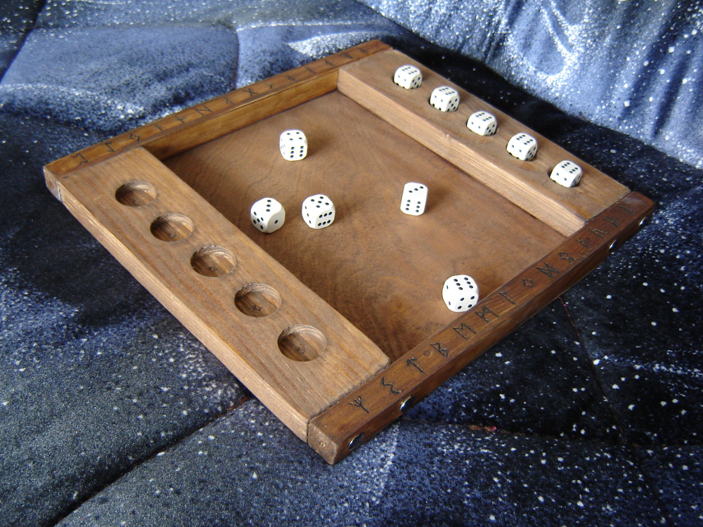 Wooden board game with dice- handmade by M-J-M-A