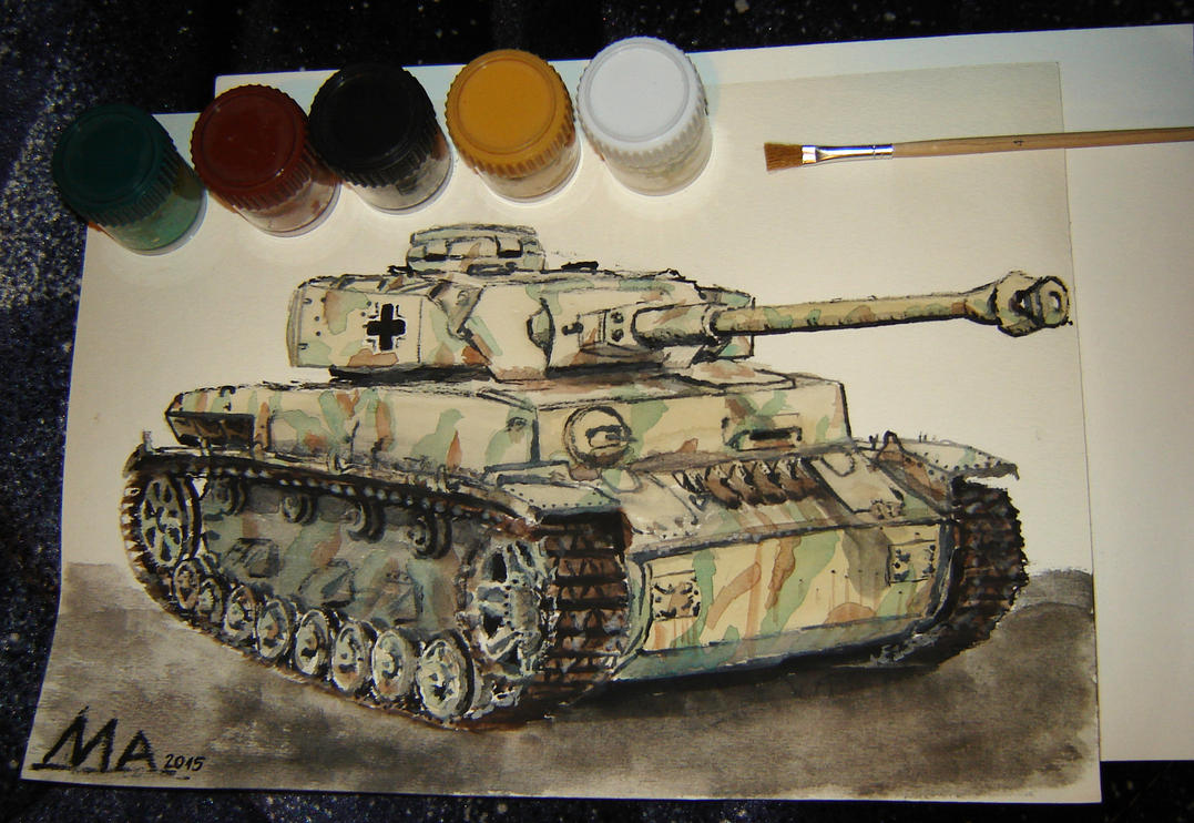 Pz IV H watercolors by M-J-M-A