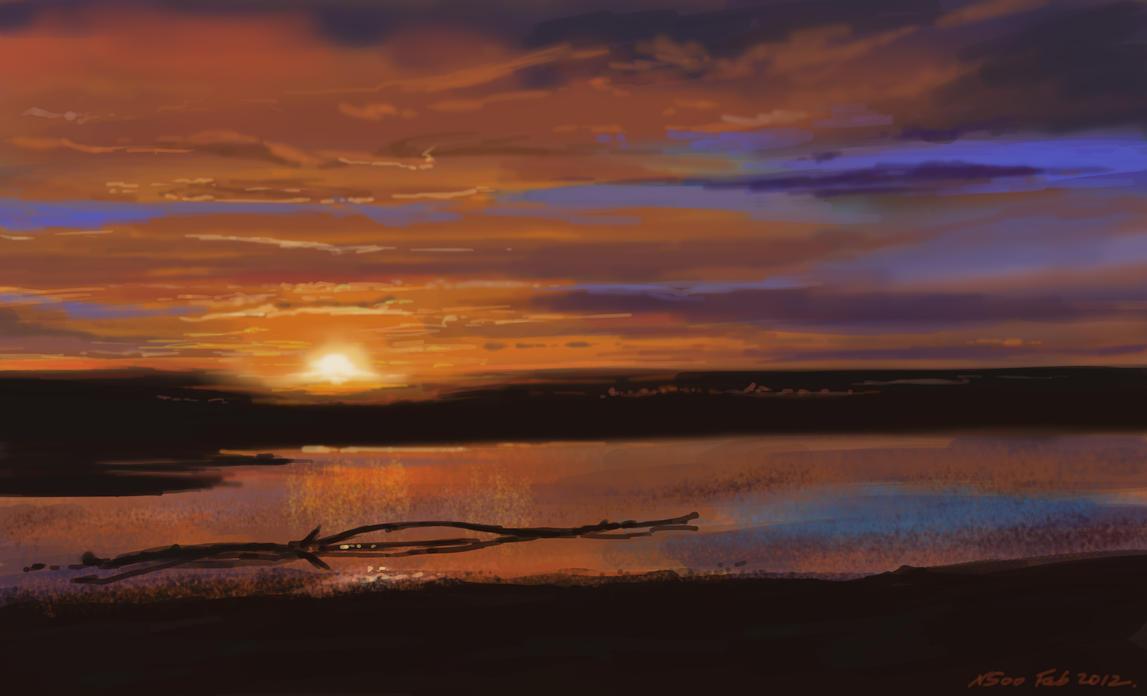 wetland sunset by nosoart