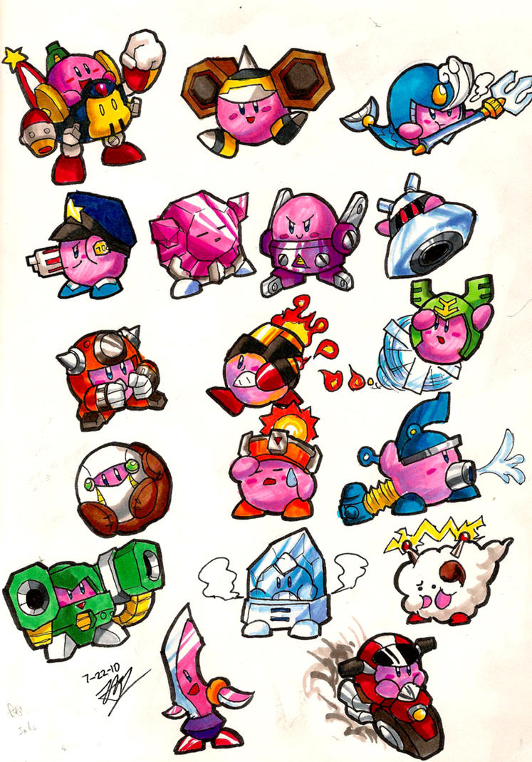 Mega Kirbies- Classic 9 and 10 by Hakuramen