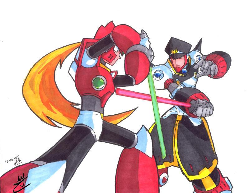 MMX- Zero vs. Colonel duel by Hakuramen