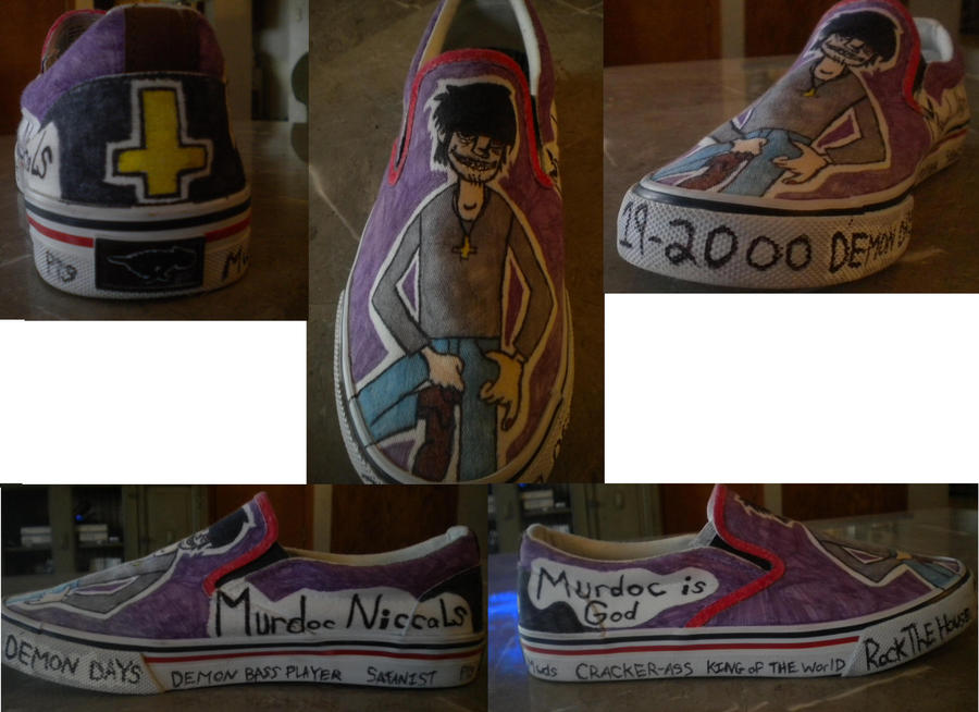 My custom Murdoc shoes by 23-hour-party-people