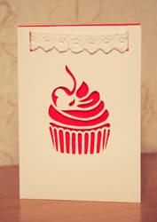 Handmade papercutted card with a cupcake by InnaAdamenya