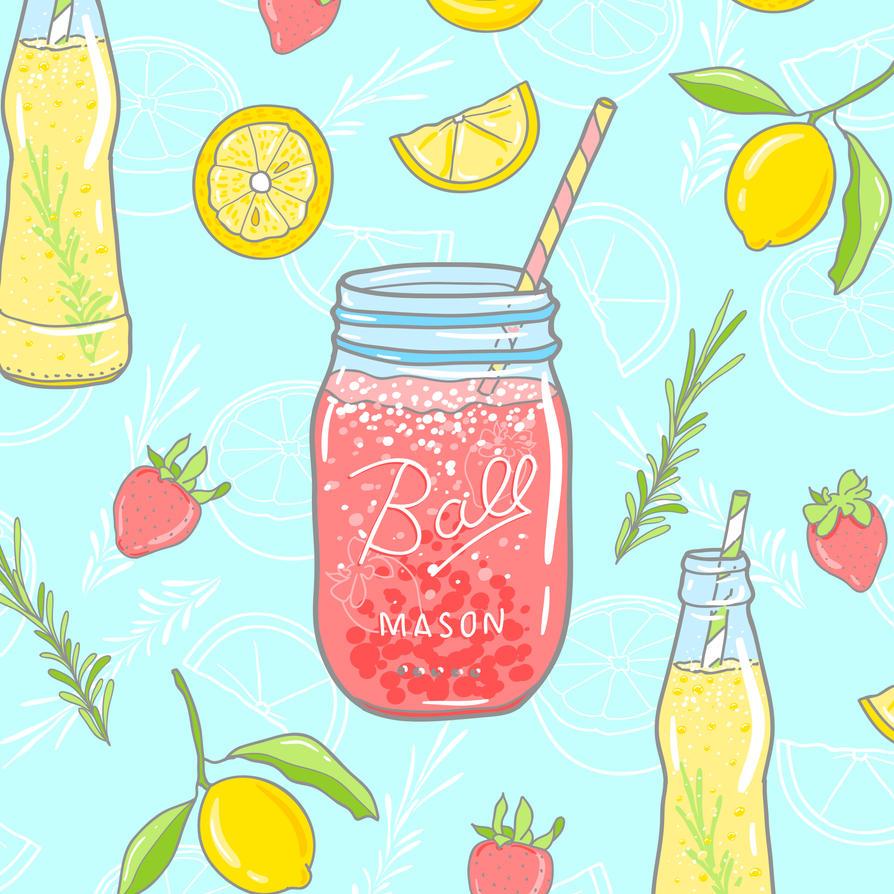 Mason jar lemonade illustration, seamless pattern by InnaAdamenya
