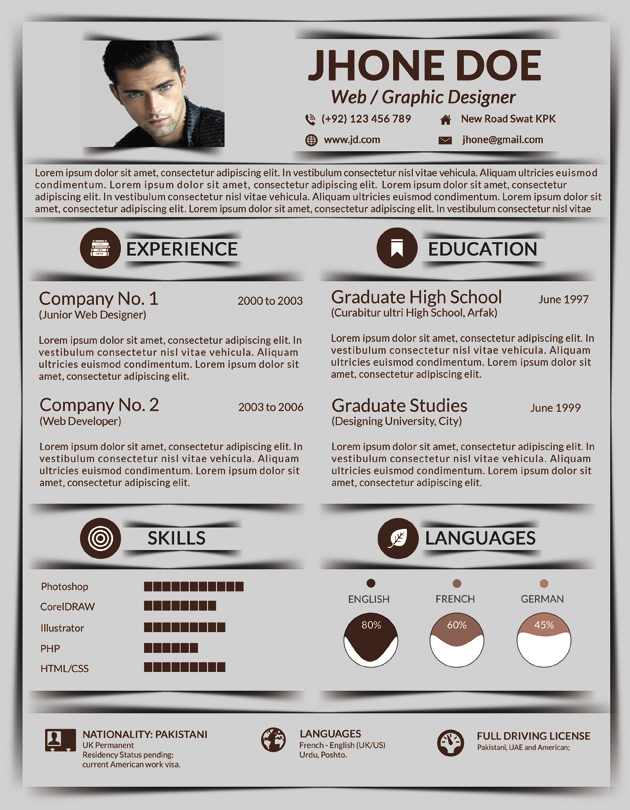 resume 5 different colors by mehrodesigns on deviantart
