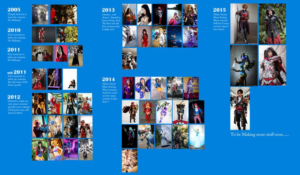 My cosplay Timeline 2005-2015 by LadyAngelus