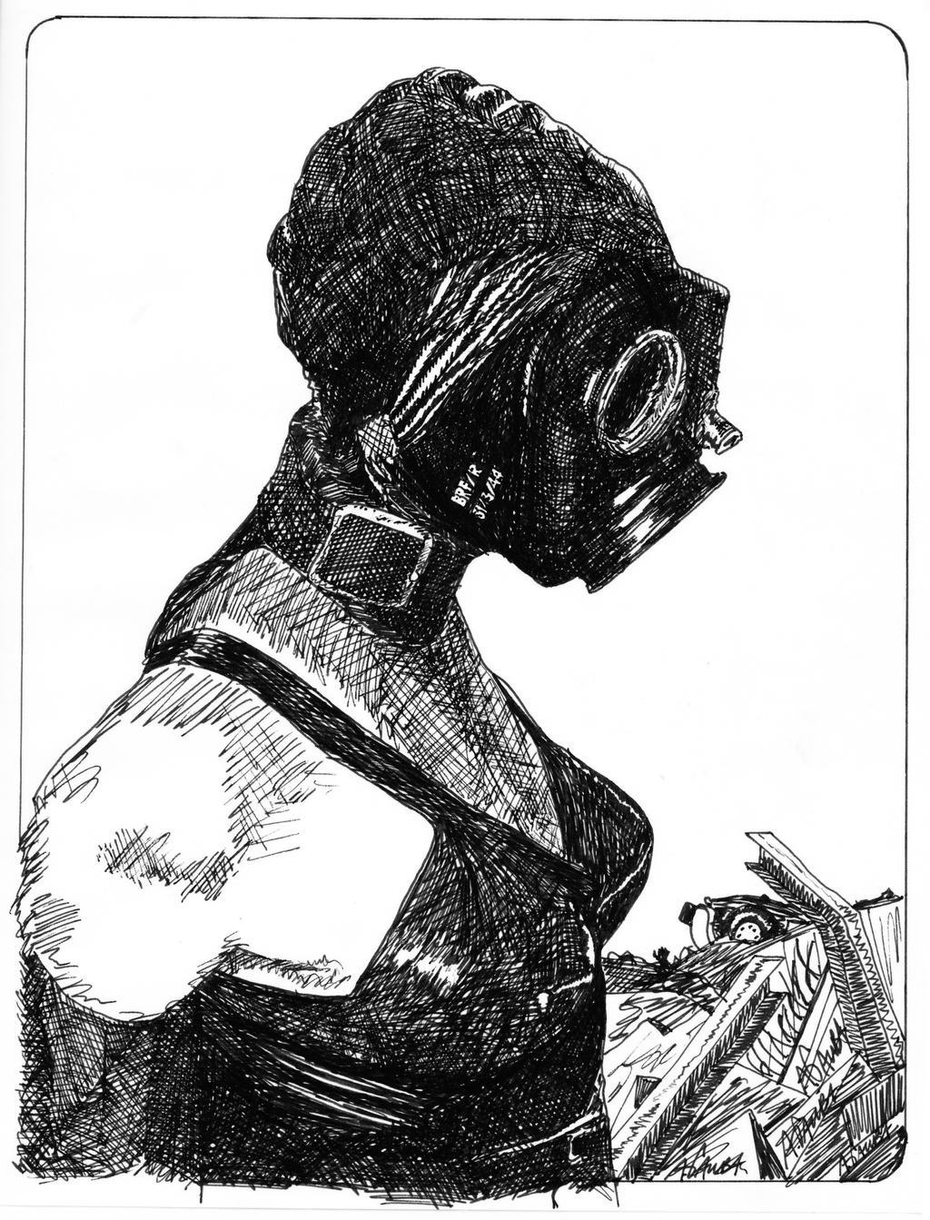Gas Mask Girl by AgustinGoba
