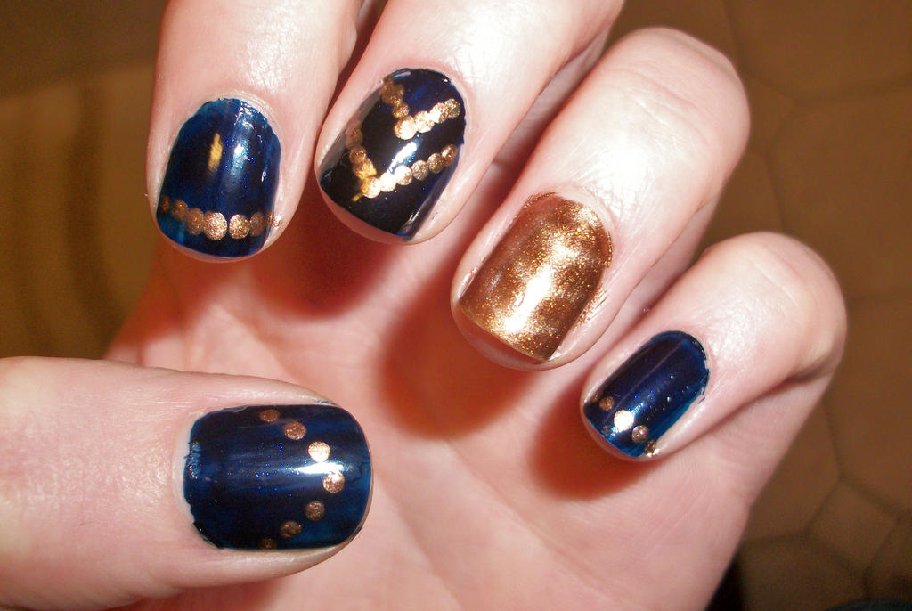 Navy and Gold Nails by Treise on DeviantArt