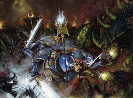 40k commission - Ultramarines, Tyranid Invasion by Michael-Galefire