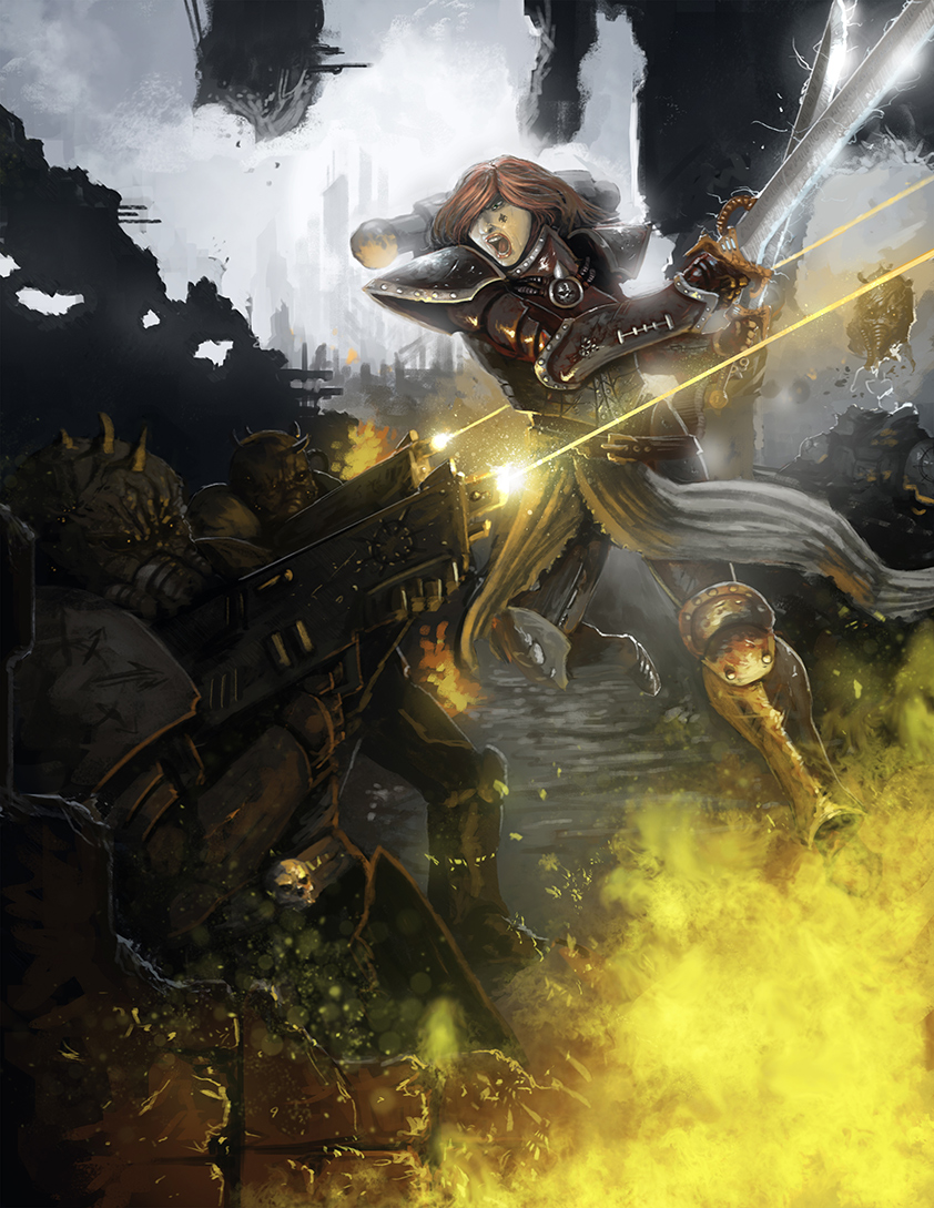 Sisters of Battle - Bloody ruins by Michael-Galefire