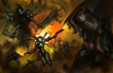 Alise vs demonic horde by Michael-Galefire