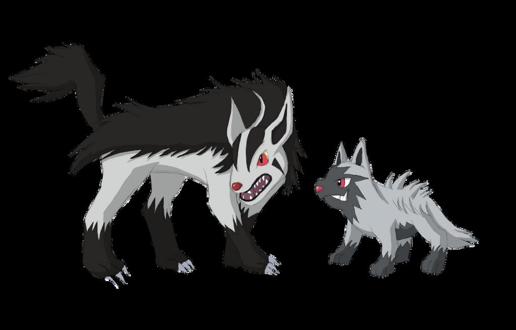 Poochyena and Mightyena by BurningAshDragon