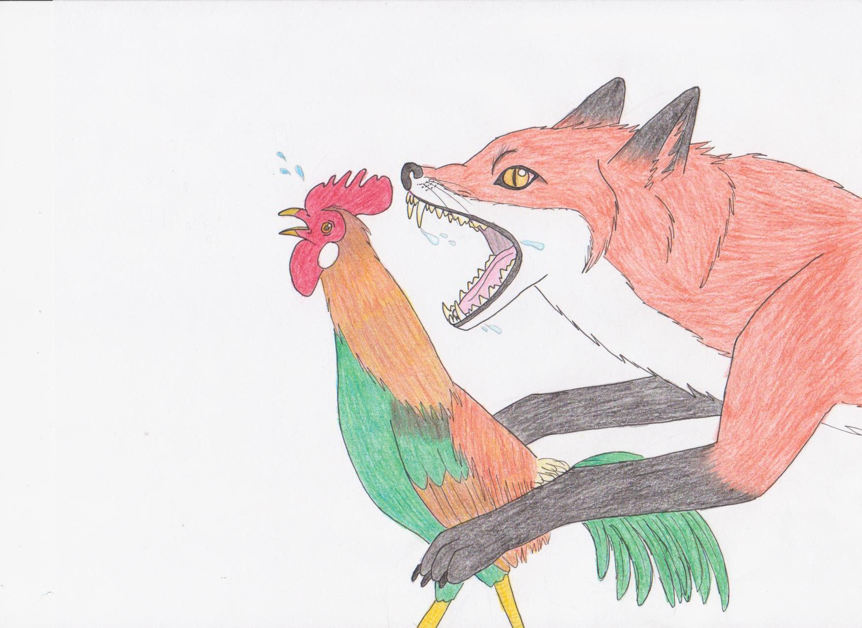 Fox and rooster by bleu mademoiselle on deviantart for The chanticleer