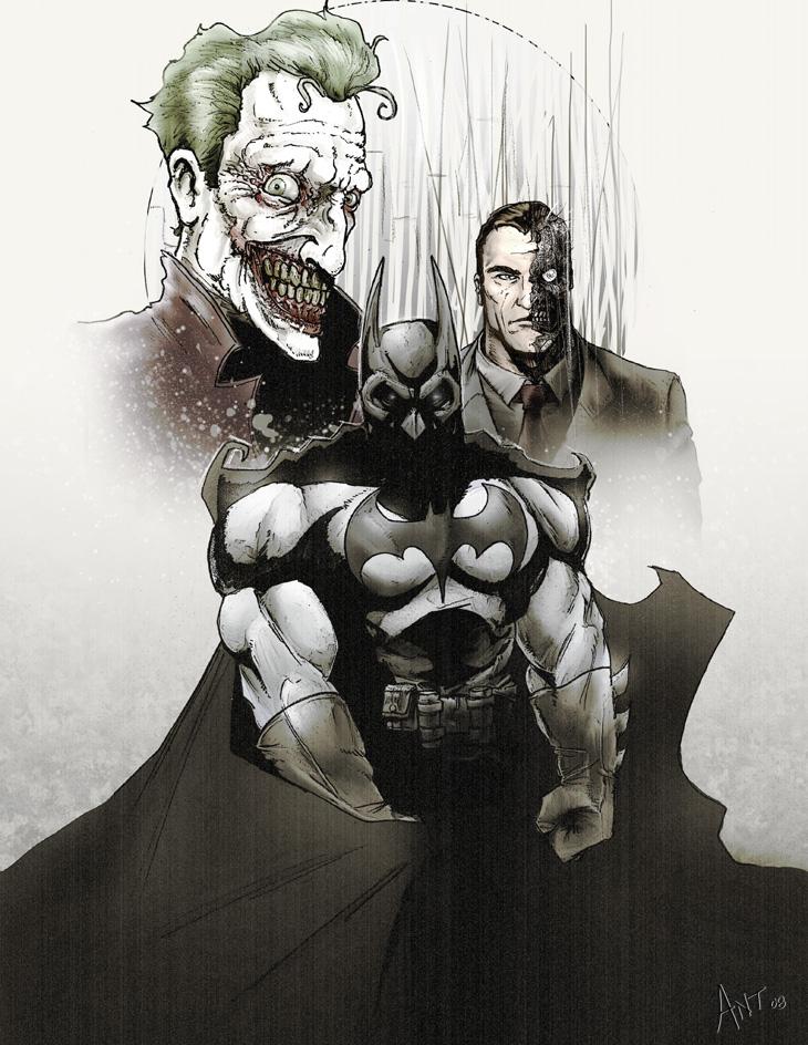 batman and joker half face drawing cenksms