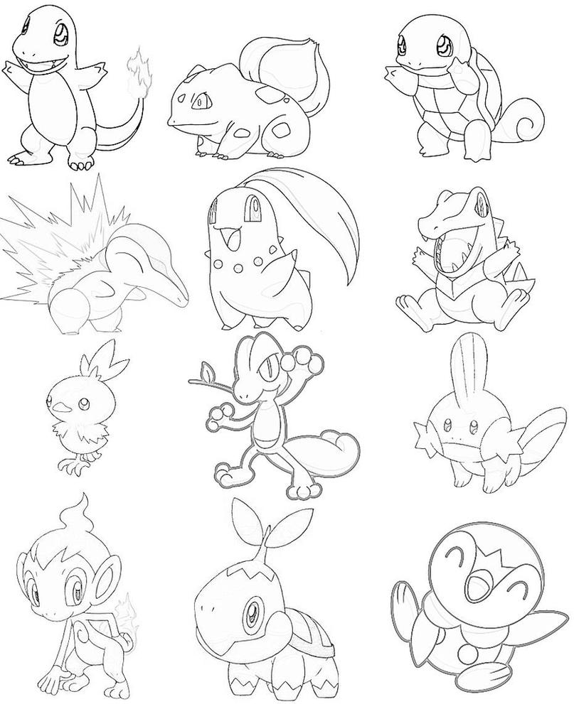 Pokemon Kanto Starters Coloring Pages Sketch Page