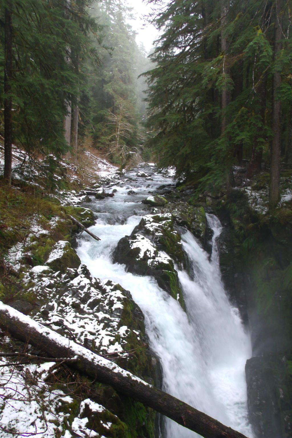 Snowy Sol Duc Falls by pokemontrainerjay
